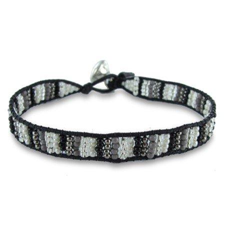 Colori Armbandje Black Cord - Black/White