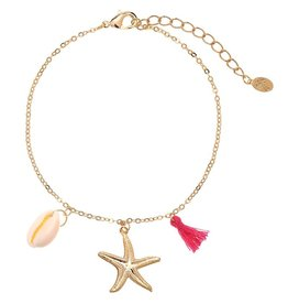 Enkelbandje Beach Essentials - Gold Plated - Pink