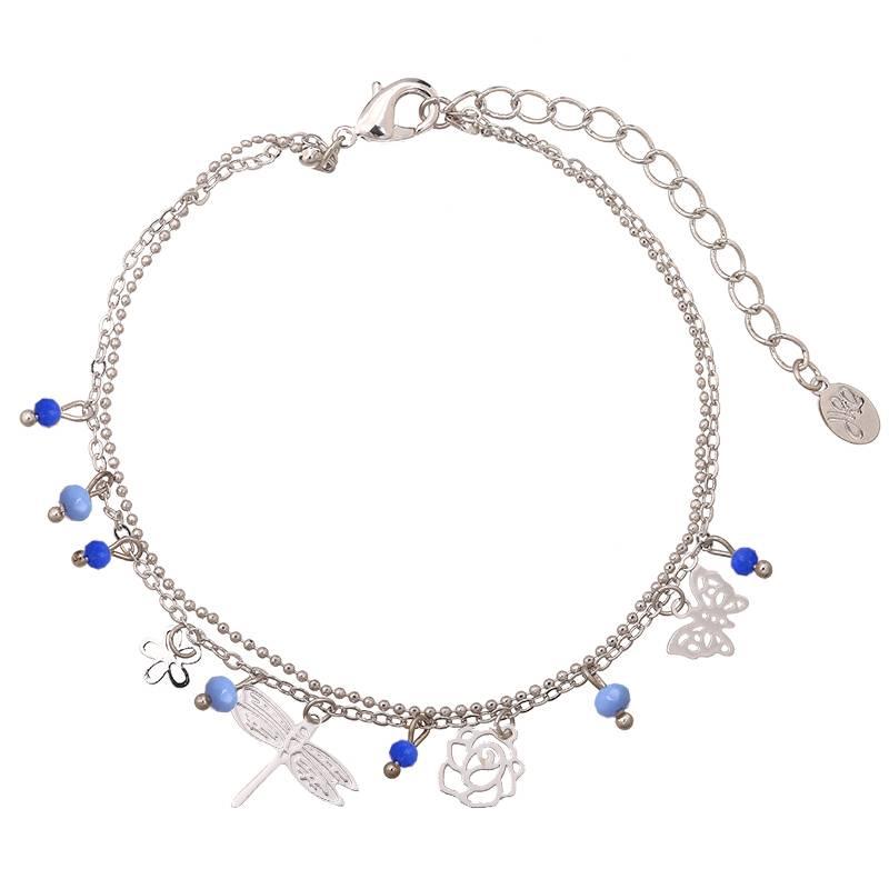 Enkelbandje Tiny Beads & Spring Vibes Blue