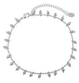 Enkelbandje Tiny Beads Party Silver