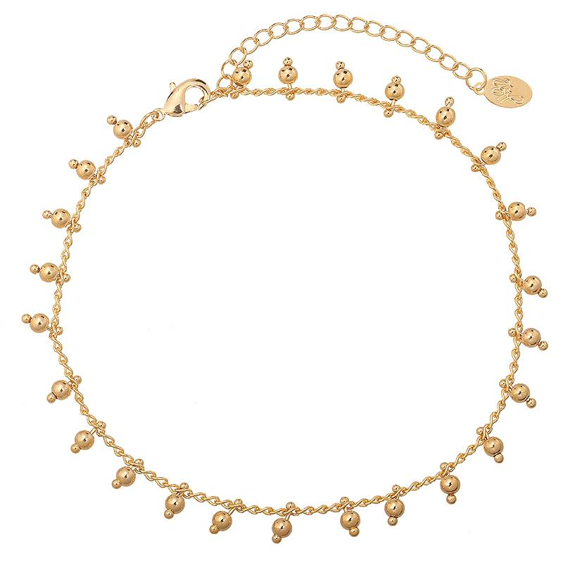 Enkelband Tiny Beads Party Gold