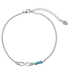 Enkelbandje Infinity Silver Turquoise