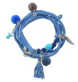 Blauwe Wikkel Armband Enkelbandje of ketting Boho Ibiza