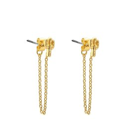 Oorbellen Cactus Chain Long - Gold