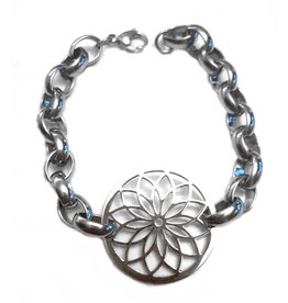 Sazou Jewels Armband Stainless Steel Jasseron Flower