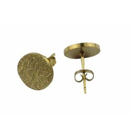 Oorknopjes Stainless Steel Sanded Gold Studs