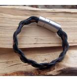 B & L Lederen Armband Black Braided / Brown Strip
