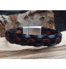 B & L Lederen Armband Black Braided / Brown Strip