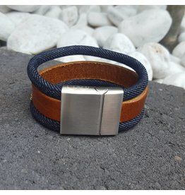 B & L Lederen Armband Brown / Jeans  BL 999822