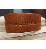 B & L Lederen Armband Cognac Love Hope Happiness MT21
