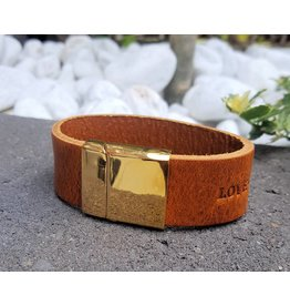 B & L Lederen Armband Cognac Love Hope Happiness MT21