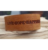 B & L Lederen Armband Cognac Love Hope Happiness BL9975