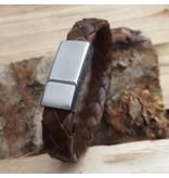 B & L Lederen Armband Dark Brown Braided