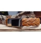 B & L Lederen Armband Cognac Braided MT21