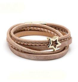 Sweet 7 Plus Size Wikkel Armband Golden Brown