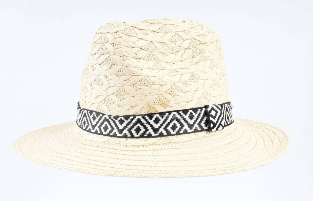 Hoed Panama Beige met Zwart Witte Aztec Band
