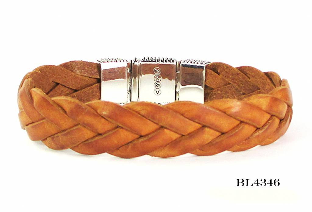 B & L Lederen armband gevlochten cognac- Zilveren Slot