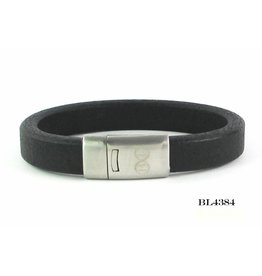 B & L Lederen Armband Robust Black Mt21