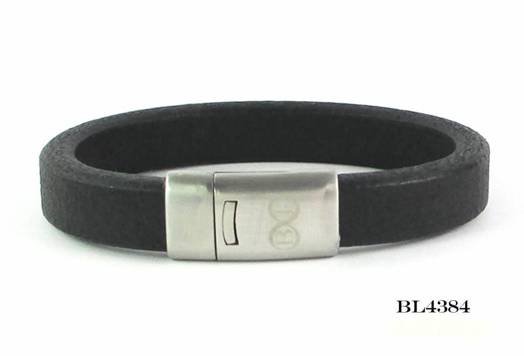 B & L Lederen Armband Robust Black Mt21