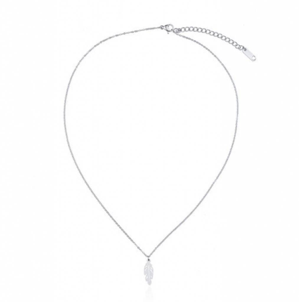 Ketting Stainless Steel Feather - Zilver