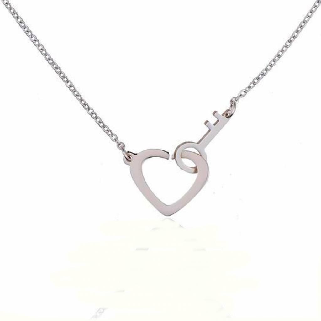 Ketting Stainless Steel Heart & Key - Zilver