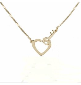 Ketting Stainless Steel Heart & Key - Gold