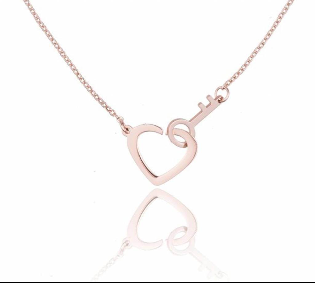 Ketting Stainless Steel Heart & Key - Zilver - Rose