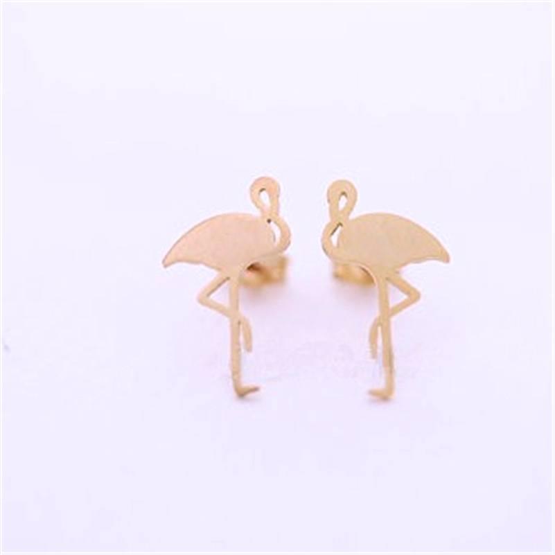 Oorbellen Stekers Stainless Steel Flamingo - Gold