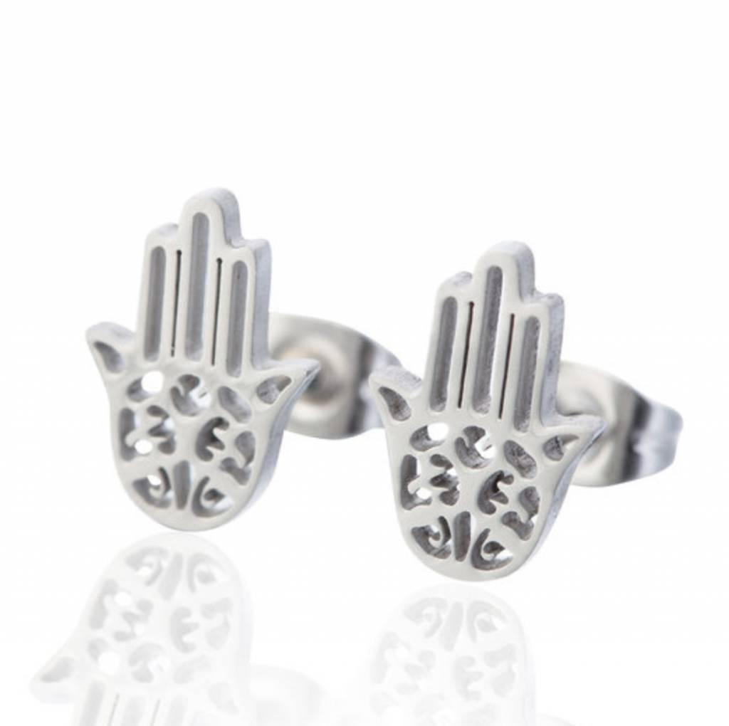 Oorbellen Stekers Stainless Steel Hamsa Hand - Zilver