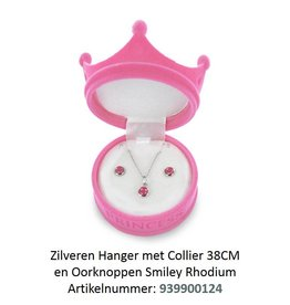 New Bling Zilveren Ketting & Oorbellen setje SMILEY- Princess