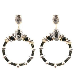 Oorbellen  Big  Sparkling Hoops - Black