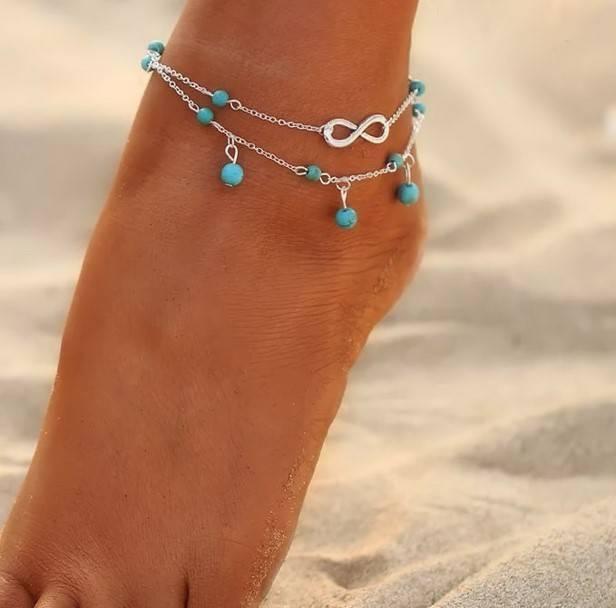 Enkelbandje Infinity Silver-Turquoise