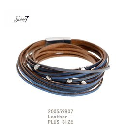 Sweet 7 Armband  Blue Leather - Plus Size