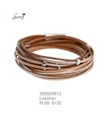 Sweet 7 Armband  Brown Leather - Plus Size