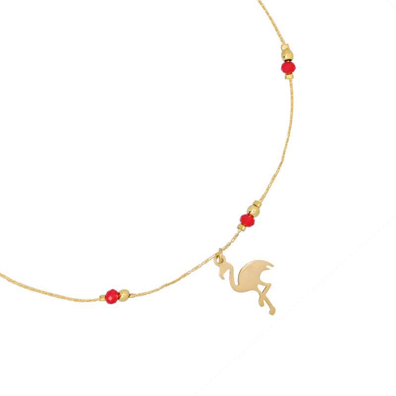 Enkelbandje Flirty Flamingo - Stainless Steel- Gold