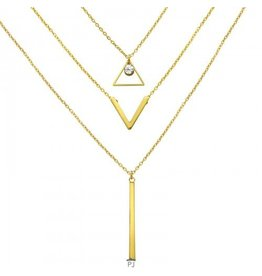 PJ Ketting Geometrisch Gelaagd - Gold