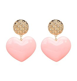 Oorbellen  Big Love Pink-Gold