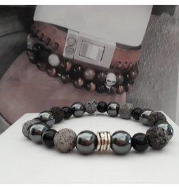 B & L Armband Hematiet, Lavastone, Onyx  met zilveren Ton Kraal  78-21