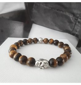 Sazou Jewels Armband Natural Stones Tyger Eye Skull