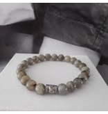 Sazou Jewels Armband Natural Stones - Labradoriet Donker- 8 mm