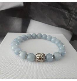 Sazou Jewels Armband Natural Stones - Aquamarijn - 8 mm