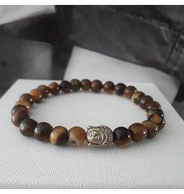 Sazou Jewels Armband Natural Stones TIJGEROOG- 8mm met Shakyamuni hoofd