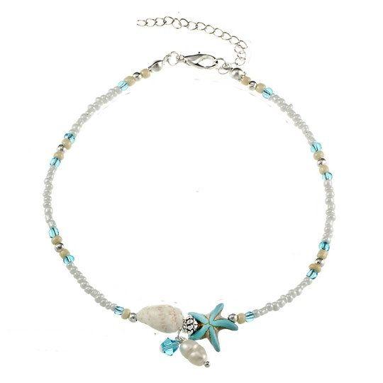 Enkelbandje Starfish & Shells Silver