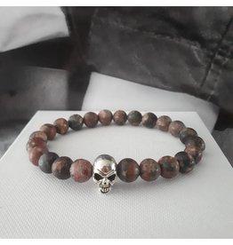 Sazou Jewels Armband Natural Stones Leopard Jaspis met Skull