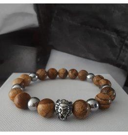 Sazou Jewels Armband Natural Stones Brown Jaspis met Leeuw Kraal