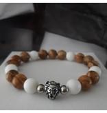 Sazou Jewels Armband Natural Stones Brown Matte Jaspis / White Jade met Leeuw Kraal