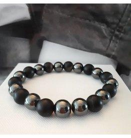 Sazou Jewels Armband Natural Stones Onyx / Hematiet/10 mm SZ850