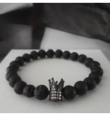 Sazou Jewels Armband Natural Stones Lava met Black Crown