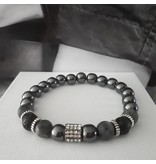 Sazou Jewels Armband Natural Stones Lava / Hematiet met spacer