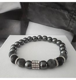 Sazou Jewels Armband Natural Stones Lava / Hematiet met spacer